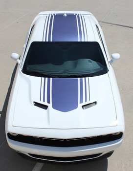 front top view of Dodge Challenger with Racing Stripes SHAKER graphic 2015-2018 FCD Call 812-725-1410