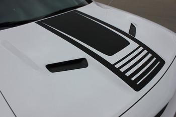 hood view of Dodge Challenger Black Stripes CUDA STROBE HOOD graphic 2008-2018 Call Us 812-725-1410