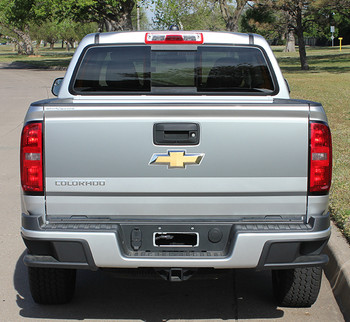 rear view of silver Chevy Colorado Rear Stickers GRAND TAILGATE stripes 2015-2018   FCD Call Us 812-725-1410