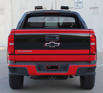 rear view of red Chevy Colorado Rear Stickers GRAND TAILGATE stripes 2015-2018   FCD Call Us 812-725-1410