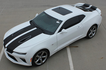 high driver side view 2018 Chevy Camaro Racing Stripes 3M CAM SPORT | FastCarDecals Call Us 812-725-1410