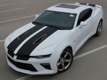 front view 2018 Chevy Camaro Racing Stripes 3M CAM SPORT | FastCarDecals Call Us 812-725-1410