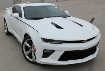 front angle view of Camaro Decals Stickers PIKE side stripe 3M 2016-2018 FastCarDecals Call Us 812-725-1410