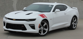 front angle view 2018-2016 Chevy Camaro Hood HASH MARK Vinyl Decal Stripe Graphic kit