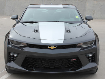 front view of 2017 Camaro SS Stripes OVERDRIVE rally graphics 3M FastCarDecals Call Us 812-725-1410