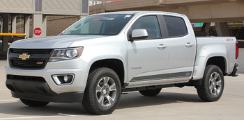 side view of silver 2015 Chevy Colorado Stripes RAMPART side decals 3M 2016-2017 FCD Call Us 812-725-1410