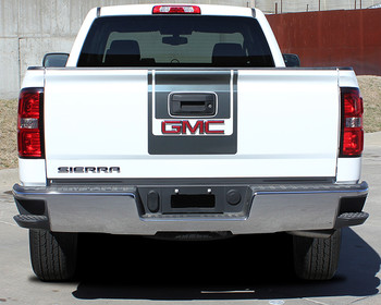 rear view of GMC Sierra Truck Graphics Decals & Accents MIDWAY 2014-2018 3M Call Us 812-725-1410