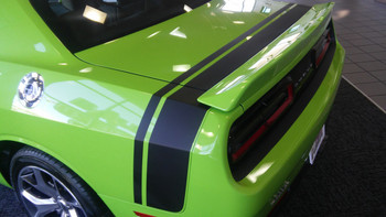 rear of green Dodge Challenger Vinyl Graphics TAIL BAND rear side stripe 3M FCD Call Us 812-725-1410
