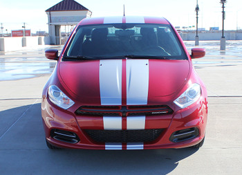 front view of 2015 Dodge Dart SXT Decals DART RALLY stripes 2013-2016 3M | FCD Call Us 812-725-1410