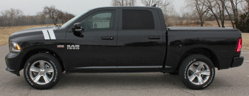 Profile view Ram 1500 Hood Stripes DOUBLE BAR fender decals 3M 2009-2018 | FCD Call Us 812-725-1410