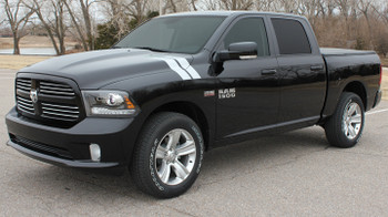 Side angle view Ram 1500 Hood Stripes DOUBLE BAR fender decals 3M 2009-2018 | FCD Call Us 812-725-1410