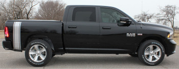 Side view of Dodge Ram 1500 Racing Stripes RUMBLE bed side decal 2009-2018 FCD Call Us 812-725-1410