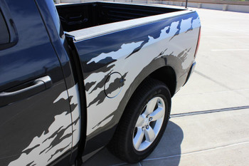 Up close bedside Dodge Ram Stripe package RAGE RAM vinyl graphics 3M 2009-2018 FCD Call Us 812-725-1410