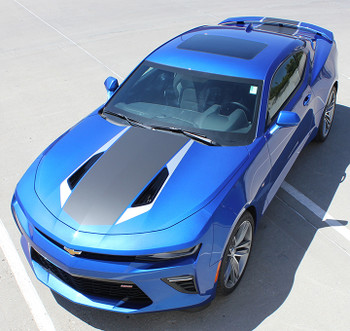 front angle view 2016 Camaro Factory Stripes HERITAGE rally hood 3M FastCarDecals Call Us 812-725-1410