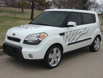 front angle 2008-2011 Kia Soul vinyl stripes SOULCAT 3M | FastCarDecals Call Us 812-725-1410