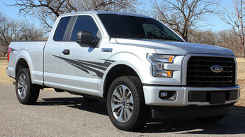 front angle Ford F150 Graphics Decals 2015-2018 APOLLO side Stripes 3M | FCD Call Us 812-725-1410