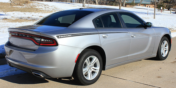 rear RIVE | Dodge Charger Side Stripes Hood Decals 3M 2015-2018 | FCD Call 812-725-1410