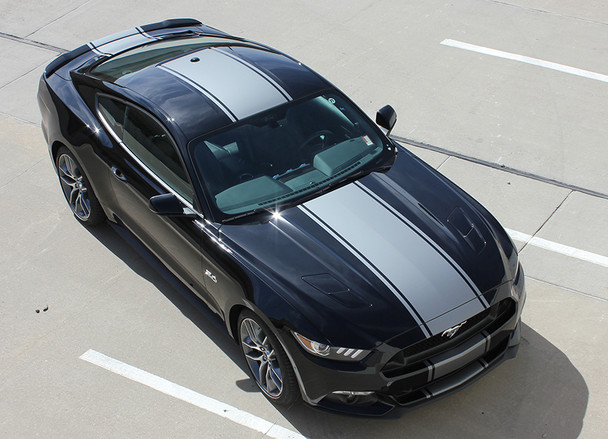 top angle of Mustang Racing Stripes with Pinstripes CONTENDER 3M 2015-2017 FCD Call Us 812-725-1410