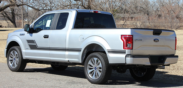rear angle Ford Truck Decals and Sticker ELIMINATOR bedside stripes 3M | FCD Call Us 812-725-1410