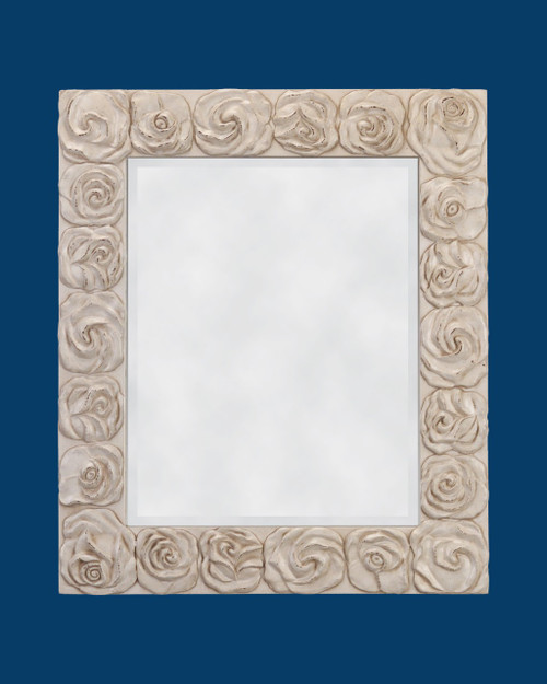 FM 4014 - Antique White Frame with Beveled Mirror