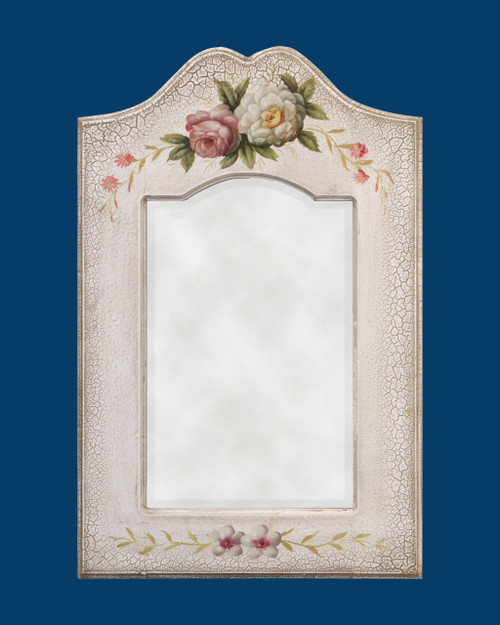 Antique White Frame w/ Hand Painted Flower Pattern - FM 1502