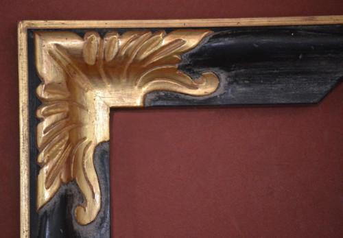 "C - D1 - Hand Carved, Plein Air, 22 Karat Genuine Gold leaf Corners & Black F Panel  Moulding Width 2 3/4""  X   1 3/4"" Hight  Rabbet Size: 1/2""  Hight  x  5/16"" Width"