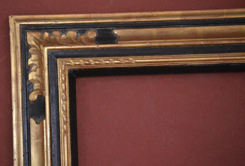 "C - 1988 - Hand Carved, Plein Air, 22 Karat Genuine Gold Leaf & Antique Black Panel  Moulding Width 4 1/4""  X  1 1/8"" Hight  Rabbet Size: 5/8""  Hight  x  1/4"" Width"