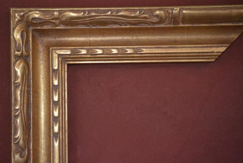 "C-9076 Hand Carved, Plein Air, 22 Karat Genuine Gold leaf  Moulding Width 3 1/2""  X   1 3/4"" Hight  Rabbet Hight : 1/2""  X  3/8"" Width"