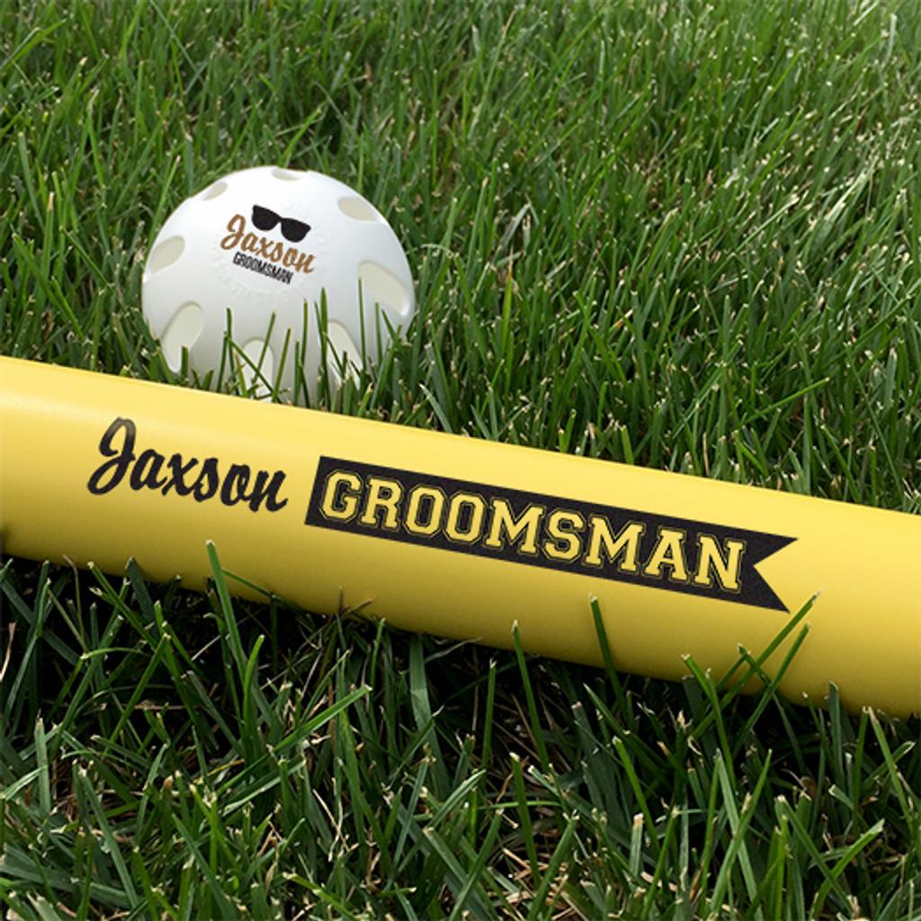 Customized Wiffle Ball and Bat Set - Groomsman