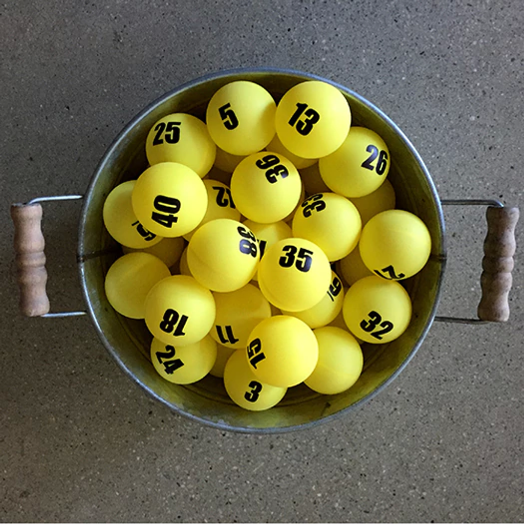 Individually Numbered Colored Ping Pong Balls - Double Side Imprint