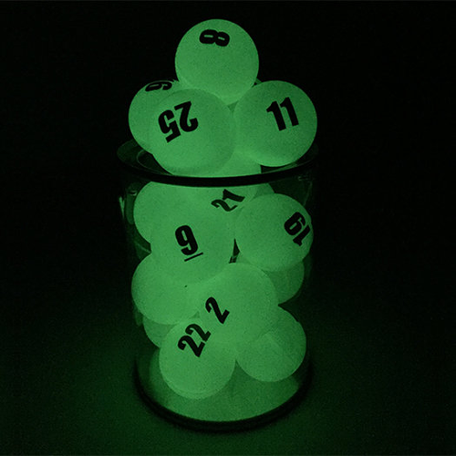 Individually Numbered Glow in the Dark Ping Pong Balls