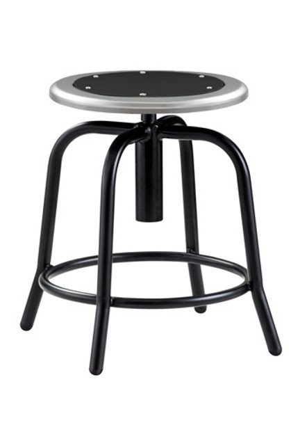 National Public Seating 6810 10 Adjustable Height Stool With Black Frame  And Black Metal Seat