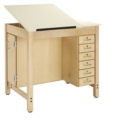 Shain DT 33A Drafting Table With Adjustable Drawing Surface With Drawers  And Board Storage ...