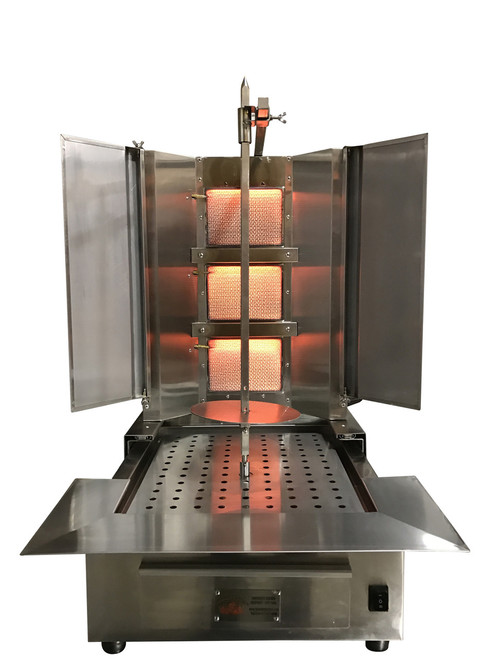 Shawarma Machine- Gyro Machine-Tacos al Pastor Machine- Doner Machine- Commercial Vertical Broiler 3 Burners by Spinning Grillers New York. Model SGN4- 3 Burners- Enegery Saver Commercial Quality- New for 2017