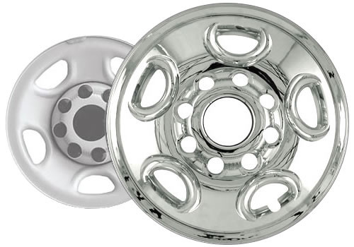 """02'-03' Avalanche Wheel Covers Wheel Skins by CCI Chrome Finish for 16"""" Wheel"""