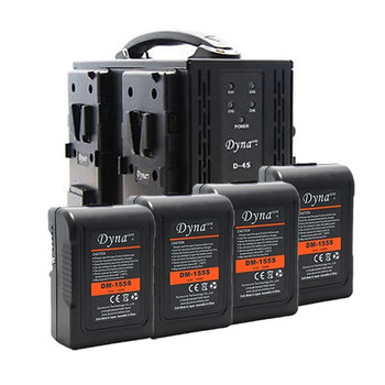 Dynacore D-4S V-Mount Simultaneous Quad Charger with (4) DM-155S V-Mount Batteries