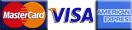 We Accept Mastercard, Visa and American Express