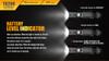 Fenix TK20R Rechargeable Tactical Flashlight Battery indicator