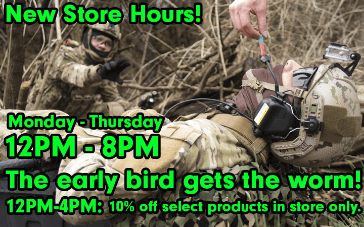 Amped Airsoft New Hours Early Bird Special 10% Off