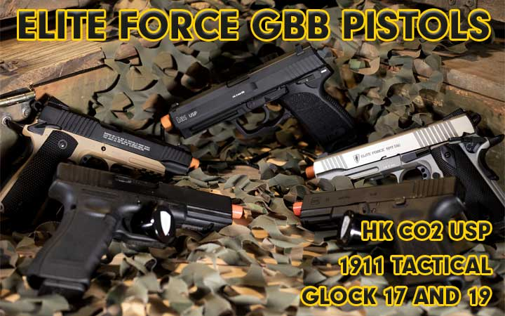 amped airsoft gbb pistols elite force co2 usp 1911 tactical glock 17 19
