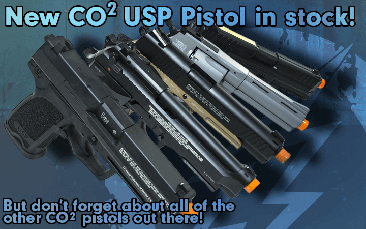 H&K USP CO2 Pistols and CO2 Accessories Here at Amped Airsoft