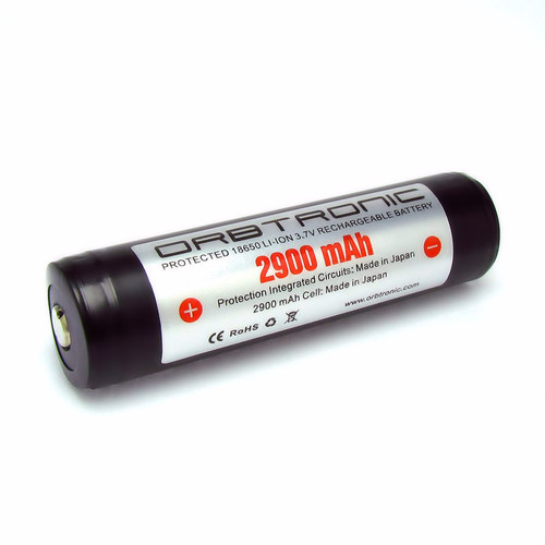 18650 Battery-Panasonic Protected 2900mAh NCR18650PF Li-ion inside-10 Amp Dual Protection-Orbtronic for high power LED flashlights