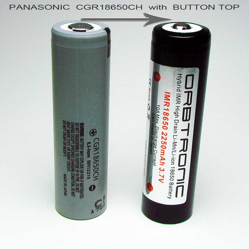 IMR Hybrid 2250mAh Panasonic CGR18650CH 18650 Button Top High Drain Battery 3.7V Li-Mn-Li-ion 10A - NEW 3500mAh battery available now (see below)