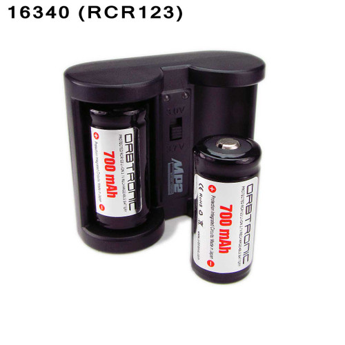 16340 Battery Rechargeable Cells (RCR123 ) Protected Li-ion 3.7V &  Li-ion 16340 Battery Charger KIT