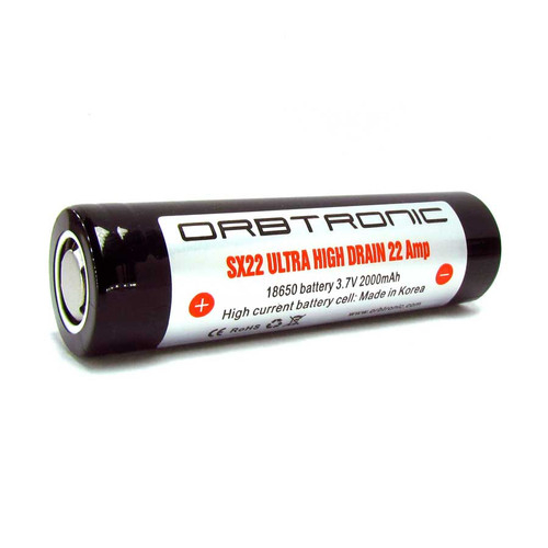 18650 battery 22A IMR Orbtronic SX22 Rechargeable Li-ion - Flat Top