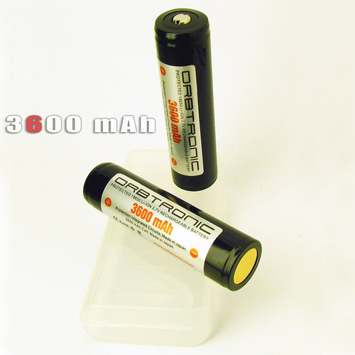 3600mAh 18650 Li-ion Orbtronic (Panasonic inside) 3.7V Rechargeable Battery Cell - For High Performance Flashlights - Dual Protection