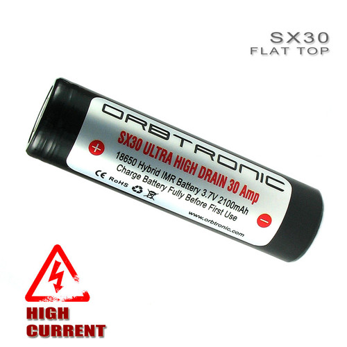 18650 30A Battery Flat Top High Drain Orbtronic SX30 High Discharge Rechargeable 3.7V Li-ion IMR