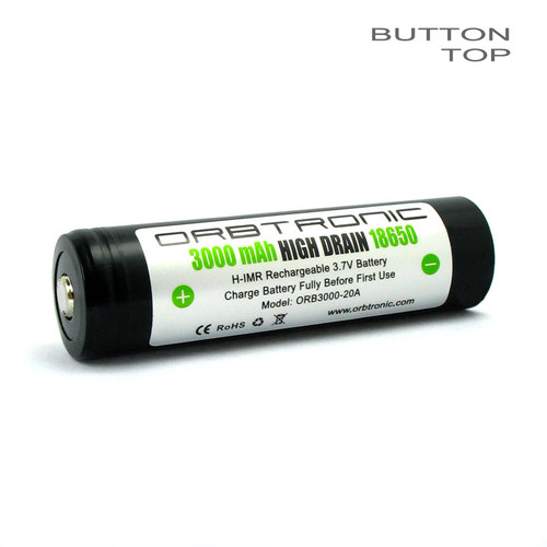 3000mAh 18650 Battery 20A-35A Li-ion 3.7V Button Top Rechargeable High Drain H-IMR - Orbtronic