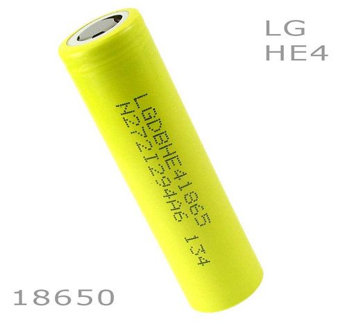 LG HE4 18650 battery 3.7v 2500mah Flat top IMR High Drain - Batt. Holder Included