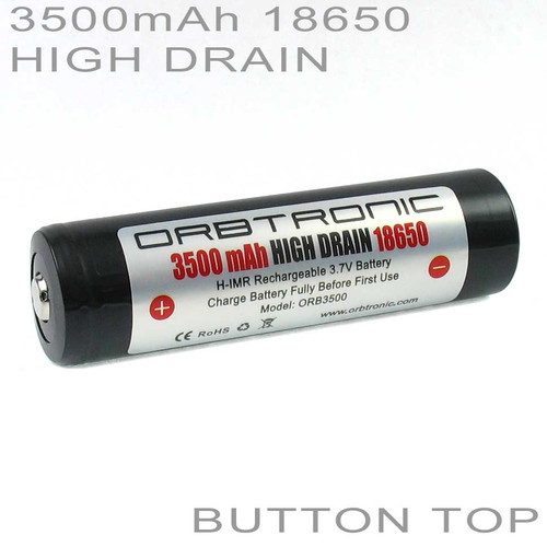 18650 3500mAh High Drain Button Top Battery Rechargeable 3.7V Orbtronic-Holder included